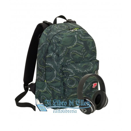 0ab9a5cbc2 ZAINO SEVEN THE DOUBLE PYTHON MULTICOLORE CON CUFFIE WIRELESS 2 ZAINI IN 1  REVERSIBILE NOVITA'